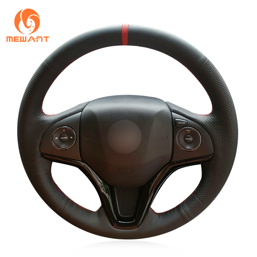 MEWANT Black Genuine Leather Car Steering Wheel Cover for Honda Fit 2014 2019 City 2014 2019