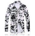 2017 Известный Бренд Мужской Рубашки С Длинным Рукавом Мужская Гавайская Рубашка Цветочный Рубашка Мужчины М-6XL 7XL Camisa Masculina Социальной