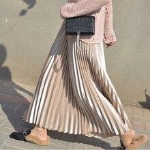 2020 Women Spring Long Pleated Skirt High Waist Women White Long Skirt Female Autumn High Quality Vintage Women Maxi Skirt Saia
