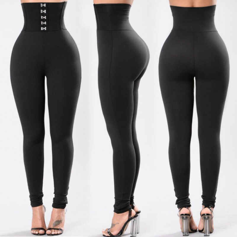 Gran oferta de la cintura de las mujeres de estiramiento de cintura alta Color negro longitud Pantalones