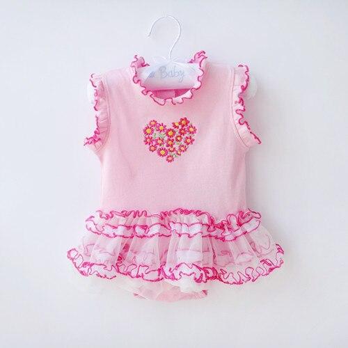 Einzelhandel baby sommer overall clothing boutique lace kleinkind mädchen prinzessin strampler baumwolle herz stickerei ein stück kleidung