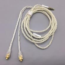 Cables MMCX para Shure SE215 SE535 UE TF10 para Sennheiser IE8 IE80 16 acciones 5N, auriculares chapados en plata, auriculares HIFI Línea alámbrica