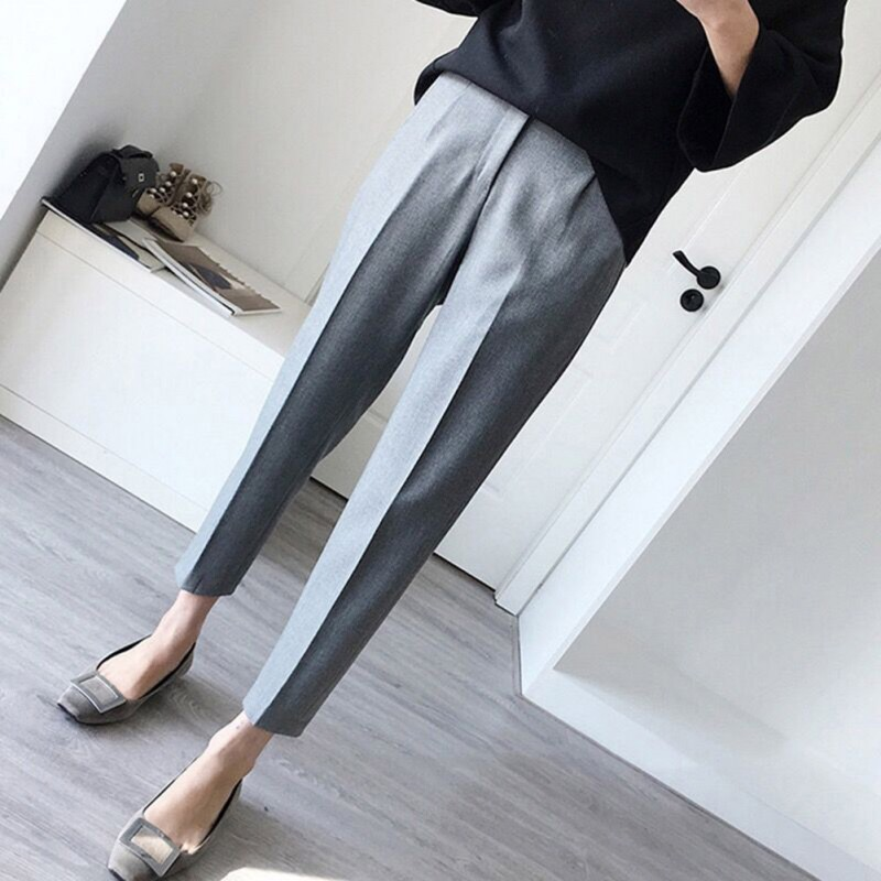 Casual OL Lady Ankle-Length Trouser Women High Waist Elastic Straight Pants Female Trouser