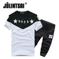 Jolintsai Men Clothing Set 2017 Summer Casual Short Sleeve Letter Shorts Short Sleeve 2 PCS Set Men Tracksuits Brand Clothing
