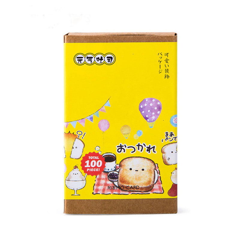 1 Box  Toast Design (10pcs Bookmarks+10pcs Message Card+20 Page Post It Notes+60pcs Stickers) Stationery School Supplie