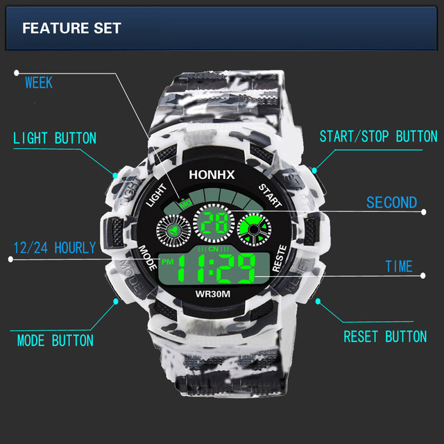 Fashion Mens Digital LED Analog Quartz Alarm Date Sports Wrist Watch Relogio Masculino Erkek Kol Saati Watch Men