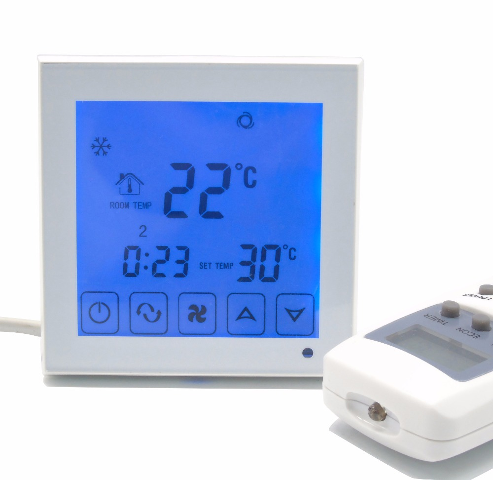 2p 4p touch screen Fan coil program thermostat temperature controller with remote iec certificate programmable timer smart touch screen fan coil thermostat with aluminum alloy wire drawing silver