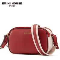 EMINI HOUSE Litchi Grain Women Flap Bag Split Leather Panelled Stripe Crossbody Bags For Women Double