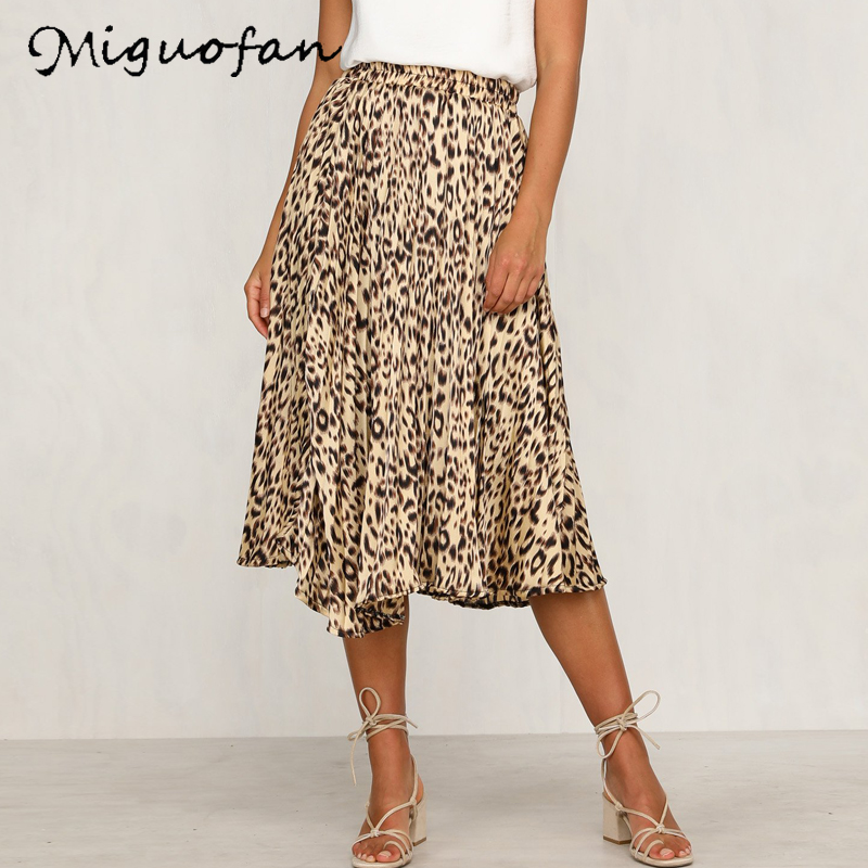 Miguofan Skirt 2019 Fashion Woman Skirts Casual Leopard Printed Women's Skirt Autumn Brief Ruffle High Waist Skirt