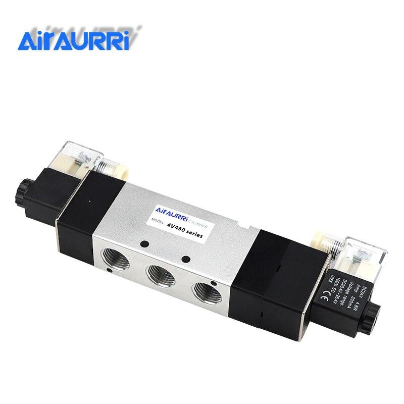 1Pcs 4V430-15 AC220V 5 Ports 3 Position Dual Solenoid Pneumatic Air Valve 1/2 BSPT