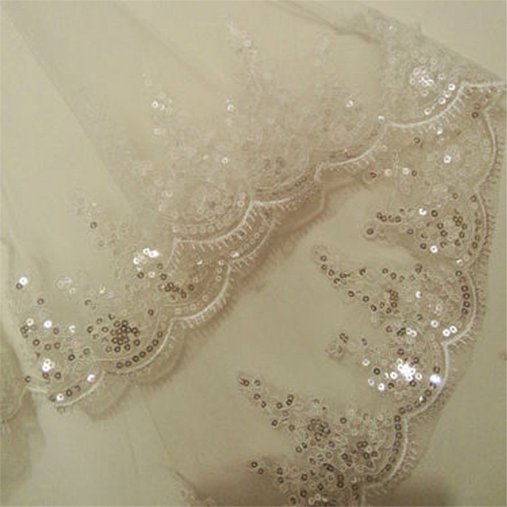 2T Cheap Short Wedding Veil Lace Edge With Comb Wedding Accessories Sequins Bridal Veil In Stock White Ivory Elbow Length in Bridal Veils from Weddings Events