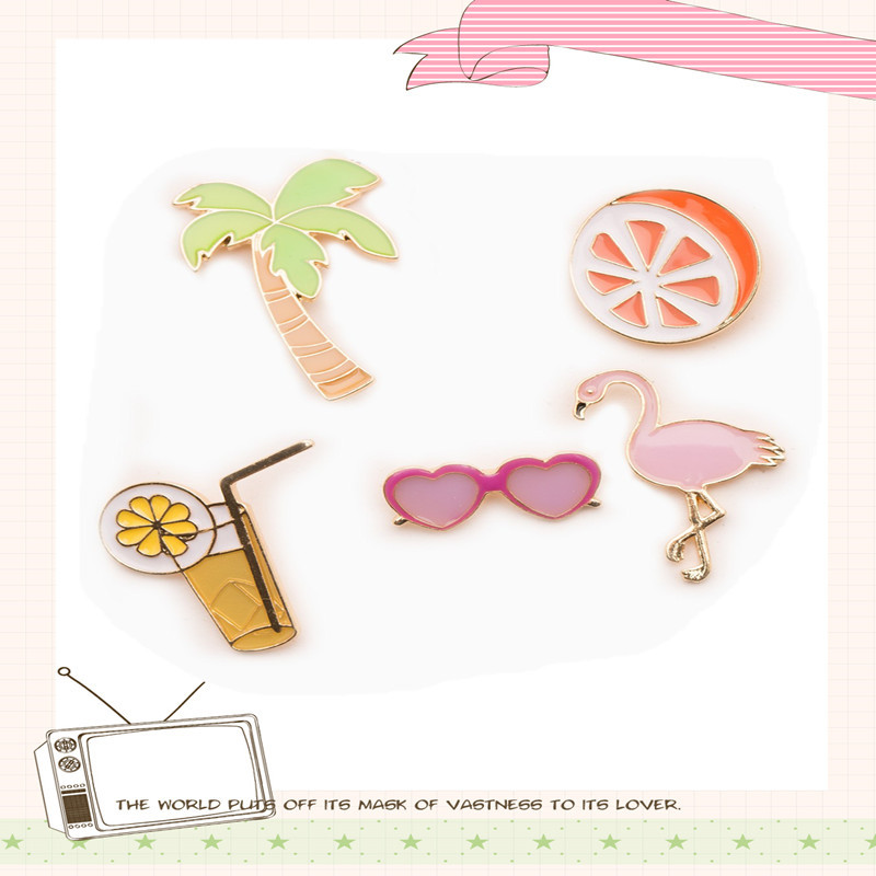 Free Shipping summer beautiful coconut trees orange orange juice glasses brooch pin jewelry brooch backs pin accessories