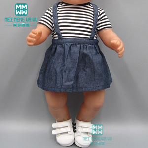 Baby clothes for doll fit 43cm new born doll accessories and american doll fashion T-shirt + imitation cowboy dress(China)