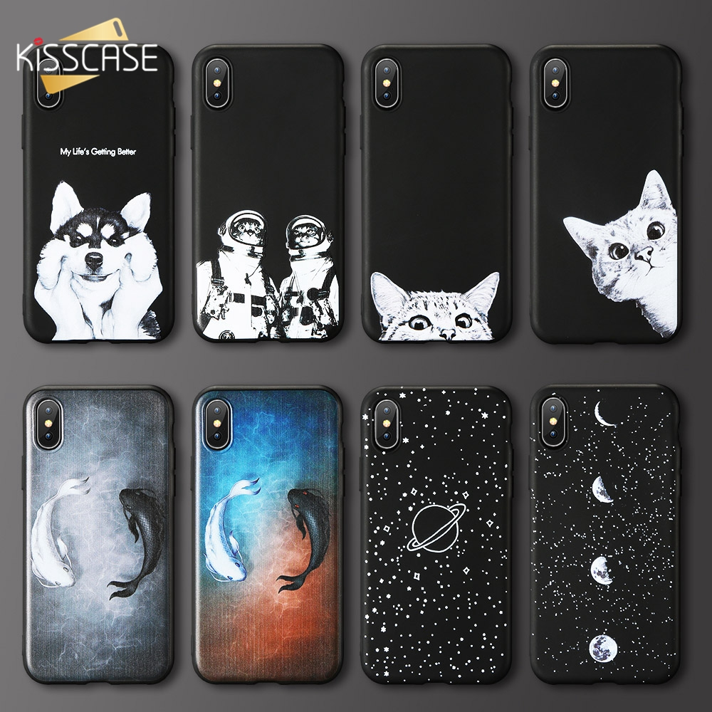 Galleria fotografica KISSCASE Cat Fish Case For Samsung Galaxy A6S A7 A8 A9 2018 Cute Star Moon Soft Phone case For Samsung Galaxy J3 J5 J7 2017 2016