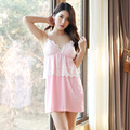 Korean Style Fairy Princess Mini Nightwear Temptation Spaghetti Straps Nightgown Free Shipping 2016 Lace Cotton Cute Sleepwear