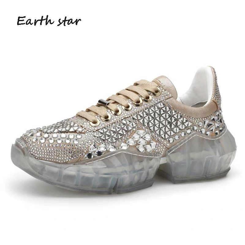 e4a2201c7a ... Pre-sale 15 days Casual Bling Shoe Women zapato de mujer Crystal White  Sneaker Platform ...
