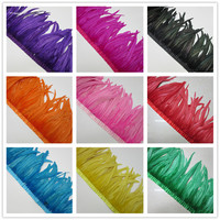 Hot sales 100 yards Quality Chicken Rooster Tail Feather Trims Ribbons 35 40CM Strip for Dress Skirt Party Clothing Craft Making