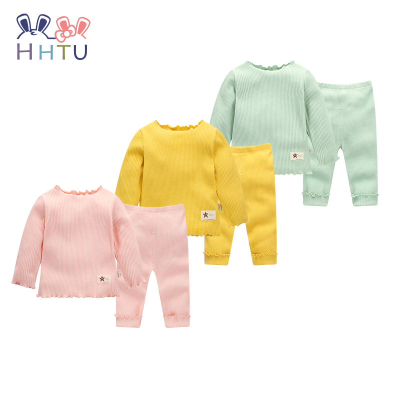 HHTU 2017 Newborn Autumn Baby Boys Girls Children Suits Cotton Long- Sleeve Casual Clothing Clothes Pants Sets Fashion hhtu baby rompers long sleeve baby girls clothing jumpsuits children autumn newborn baby clothes cotton