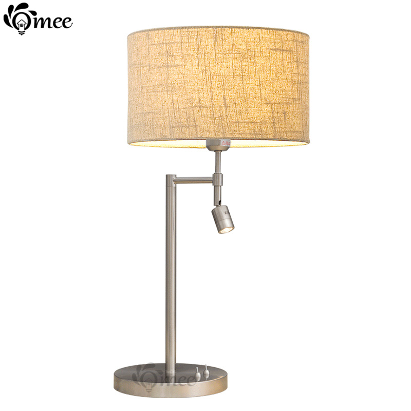 Modern Read Table Lamps For Bedroom Table Light Brief American Fabric  Linen/White Cover Decoration