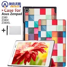 Imán case cubierta del cuero del soporte para asus zenpad 8.0 z380 z380c z380kl tablet + protectores de pantalla + stylus