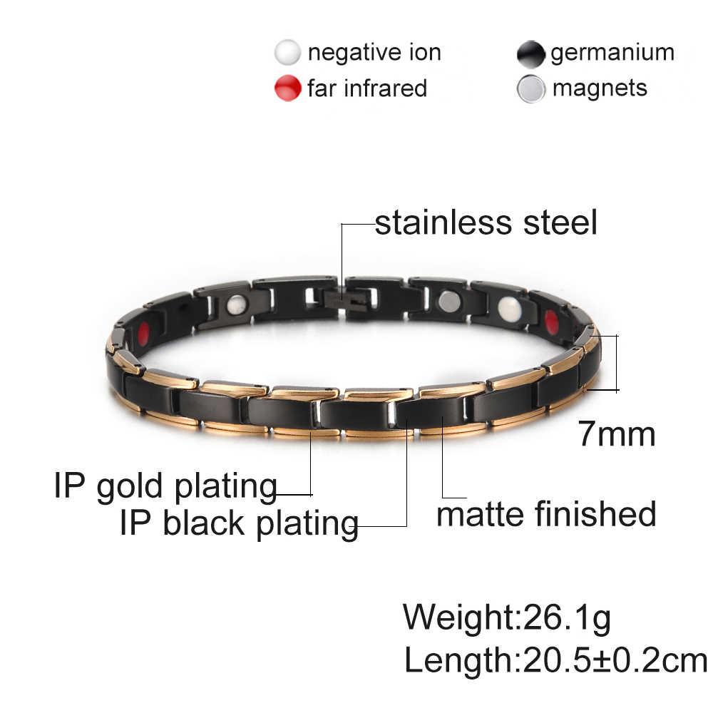 Gold /& Silver Women magnetic stainless steel link bracelet for health /& beauty