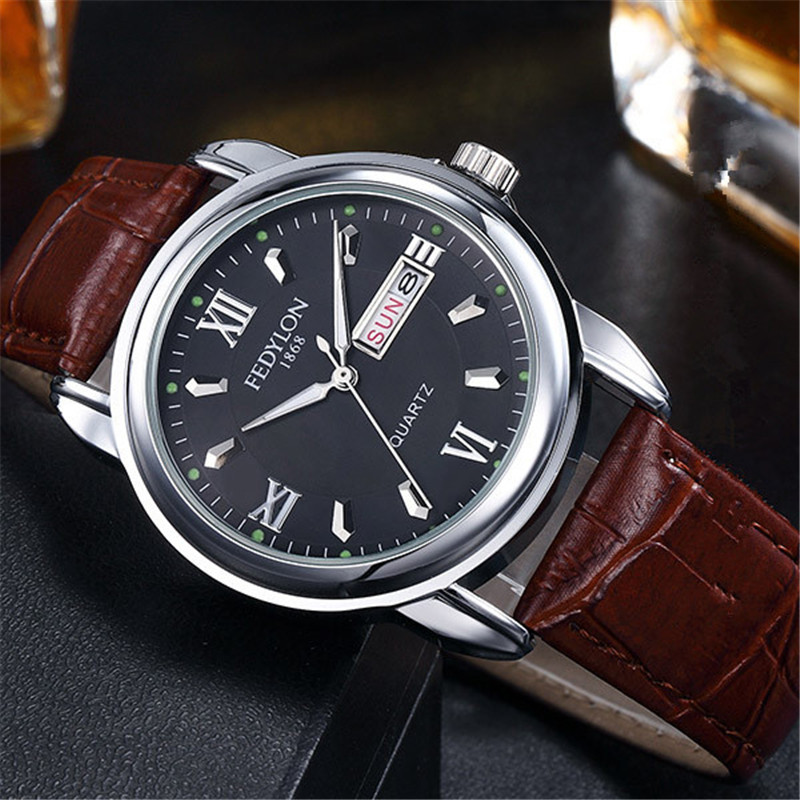 Fedylon Watches Men Luxury Brand Leather Business Watch Male Day Date Calender Waterproof Quartz Wrist Watches Relogio Masculino
