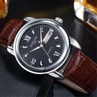 Fedylon relógios masculinos marca de luxo couro negócios relógio masculino dia data calendário à prova dwaterproof água quartzo relógios pulso relogio masculino masculino masculinos relogios masculino watch -