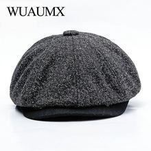 Wuaumx унисекс осень-зима Ретро газетчик шапки Для мужчин Для женщин теплая восьмиугольная шляпа для мужчины детектив Шапки художник шапки, восьмиугольная мужская кепка, кепка газетчика, шапка мужская, восьмиклинка