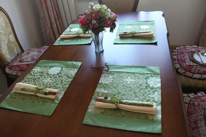 Details about  /Silk Place Mats with Chop Sticks set of 6
