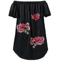 Women S Sexy Off Shoulder Mini Dress 2017 New Fashiom Summer Flower Embroidery Strapless Straight Vestido