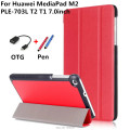 Ultra Slim Stylish MediaPad T2 T1 7.0 Leather Case Cover For Huawei MediaPad M2 PLE-703L T2 T1 7.0inch Tablet PC cover+OTG+Pen