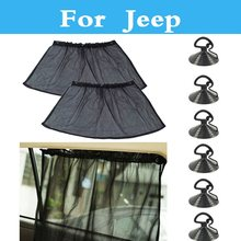 Mesh Fabric Adjustable Car Side Window Sunshade Curtains Tracks For Jeep Liberty Renegade Wrangler Commander