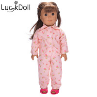 Luckdoll all kinds of color doll pajamas are suitable for 18inch American doll and 43cm doll doll accessorie