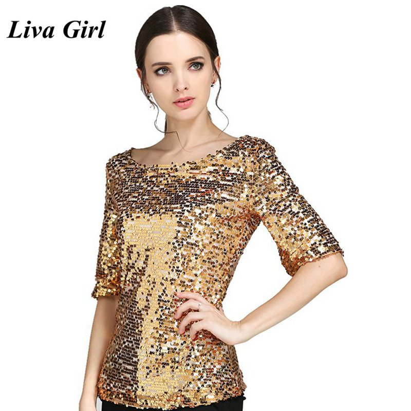 2018 Plus Size Women Blouses Summer Fashion Sexy Sequined Embroidered Half Sleeve Lady Tops Loose Casual Shirt Gold Blusas S-5XL