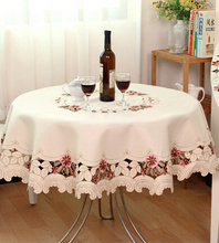 &210 220cm/86inch European home  round table cloth hotel cloth embroidery tablecloth voile ornament table mat  218