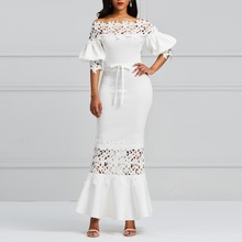 Women Sexy Elegant Mermaid Long Dress White Lace Party Dresses Patchwork Lantern Sleeve Hollow Out Lace-Up Maxi Bodycon Vestidos