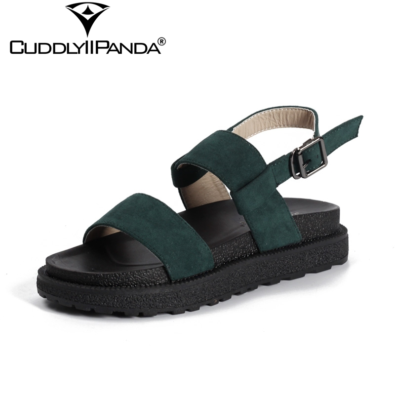 CuddlyIIPanda 2018 Summer Plus Size Green Women Platform Sandals Flat Roman Shoes Buckle Strap Natural Suede Sandalia Feminina nayiduyun shoes women cow suede strappy sandals roman gladiator sandals platform wedges creepers party casual shoes summer size