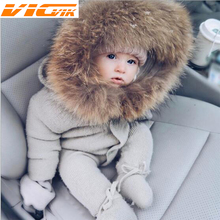 campure Newborn Baby Boys Clothes Romper With Fur Collar