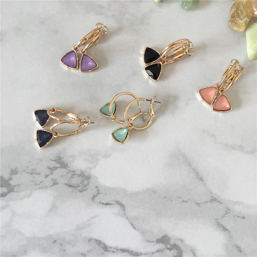 Модные женские сережки с золотым покрытием мятный камень серьги в форме треугольника серьги