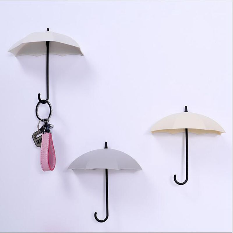 3pcs/set Multifunction Umbrella Wall Hook Cute Umbrella Wall Mount Key Holder Wall Hook Hanger Organizer Durable Key Holder-in Hooks & Rails from Home & Garden