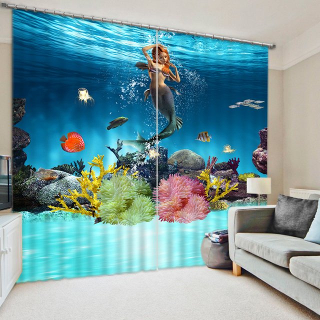 Underwater Mermaid Printed 3D Blackout Window Curtains Drapes For Girls Bedding Room Living Hotel Cortinas