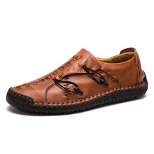 Men Leather Footwear 2019 Casual Boat Shoes Genuine Lightweight Non-slip Loafers Cow Moccasins