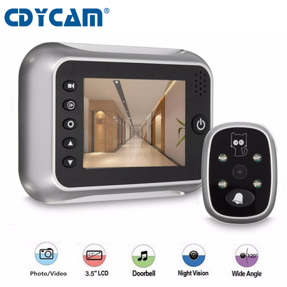 CDYCAM New 3 5 LCD Color Screen Peephole Viewer IR Night Vision Door Peephole Camera Photo