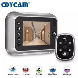CDYCAM Новый 3,5 ЖК-цветной экран глазок ИК ночного видения Дверь глазок камера фото/видео запись цифровая дверная камера