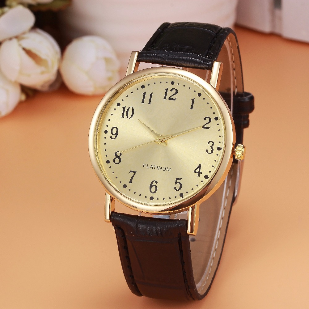 Retro Design Clock Watch Men's Black Leather Band Analog Quartz Watch Men Luxury Golden Dial Wrist Watches Business Montre #Zer woman s retro flower dial analog quartz wrist watch w pu leather band yellow brass 1 x 377