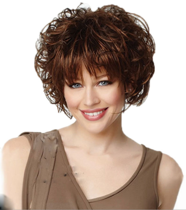 Short curly auburn wig with full bangs Heat Resistant synthetic sexy formula hair wigs for Women ...