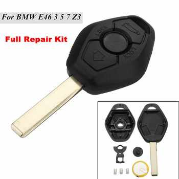 3 BUTTON Diamond Remote Key Fob Case Full Repair Kit + Battery For BMW E46 3 5 7 Z3 image