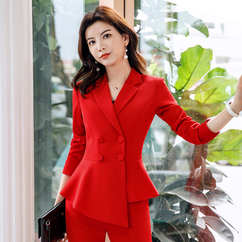 e06a875f08e [Hot Sale] Women Red blazer Slim Spring Autumn new Elegant Office Lady  Jacket Work Suit Ruffled Double Breasted blazer solid Dushicolorful-in  Blazers from ...