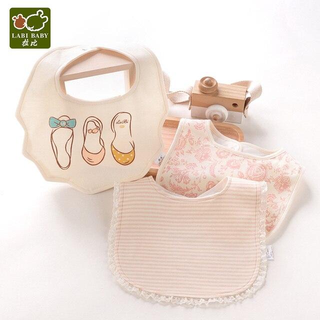 Paquete de 3 Baberos para niñas Baberos de algodón Baberos con flores de dibujos animados