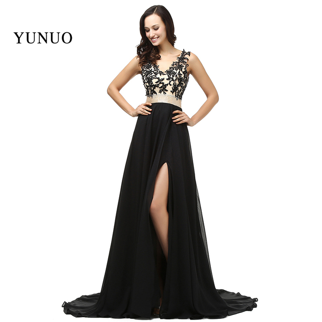 04b712dcce Sexy Charming Long Prom Dress Elegant V Neck Appliques Beading Chiffon Hot  Sale A Line High Quality Prom Gown Real Photos